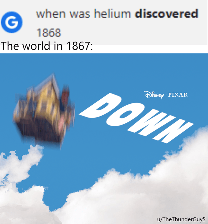 Font - when was helium discovered 1868 The world in 1867: DOWN DENEP PIXAR u/TheThunderGuys