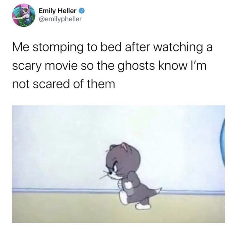 Text - Emily Heller @emilypheller Me stomping to bed after watching a scary movie so the ghosts know I'm not scared of them