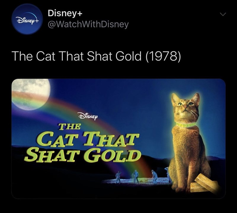 Cat - Disney+ @WatchWithDisney The Cat That Shat Gold (1978) SNEP THE CAT THAT SHAT GOLD गन्दाम