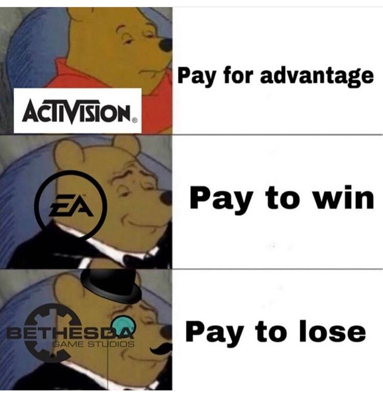 Cartoon - Pay for advantage ACTIVISION Pay to win EA Pay to lose BETHESEA GAME STUDIOS