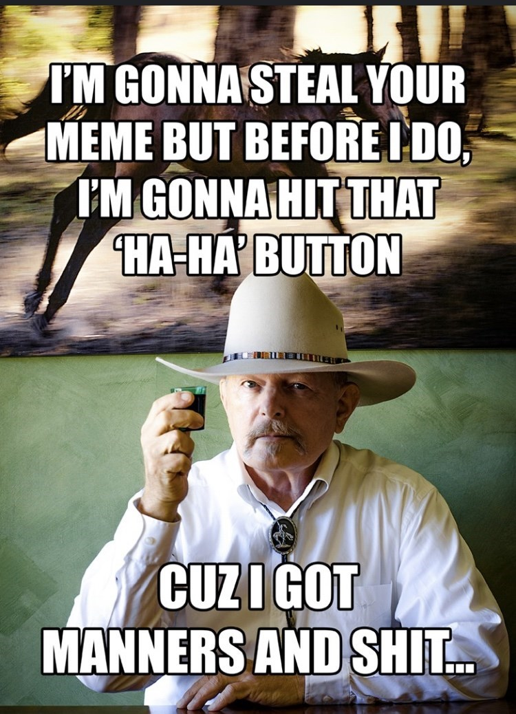 Photo caption - IM GONNASTEAL YOUR MEME BUT BEFOREI DO, IM GONNA HIT THAT HA-HA BUTTON CUZIGOT MANNERS AND SHIT..
