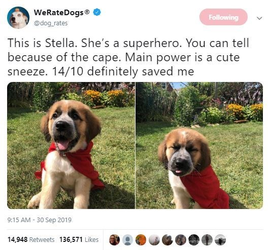 Dog - WeRateDogs Following @dog rates This is Stella. She's a superhero. You can tell because of the cape. Main power is a cute sneeze. 14/10 definitely saved me 9:15 AM 30 Sep 2019 14,948 Retweets 136,571 Likes