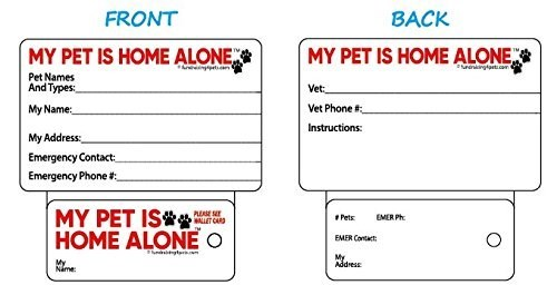 Text - BACK FRONT MY PET IS HOME ALONE MY PET IS HOME ALONE ningtc Anin Pet Names And Types Vet My Name: Vet Phone # Instructions My Address Emergency Contact Emergency Phone MY PET IS HOME ALONEO PLEASE SE ALLET CARD EMER Ph Pets EMER Contact hdgt My Address My Nime