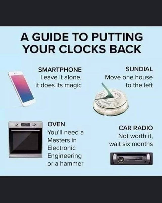 Text - A GUIDE TO PUTTING YOUR CLOCKS BACK SUNDIAL SMARTPHONE Leave it alone, it does its magic Move one house to the left OVEN CAR RADIO You'll need a Not worth it, Masters in wait six months Electronic Engineering or a hammer