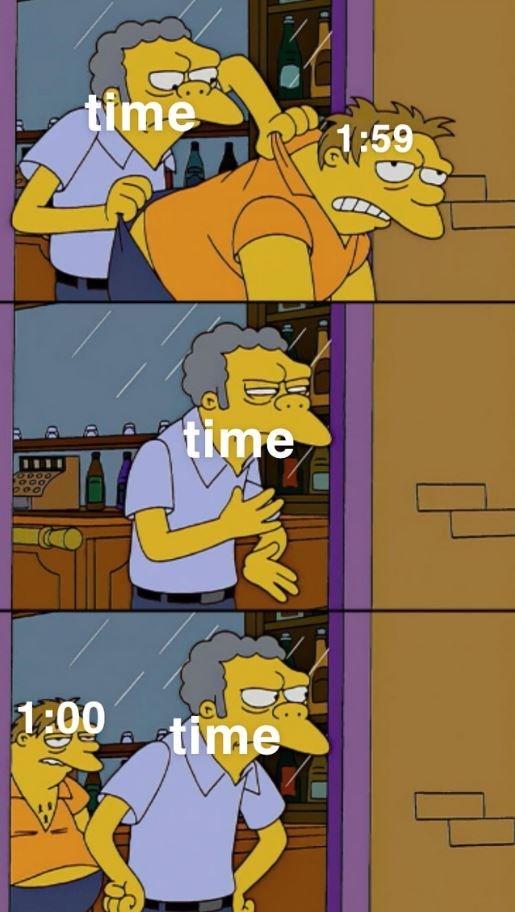 Cartoon - time 1:59 time 1:00 time