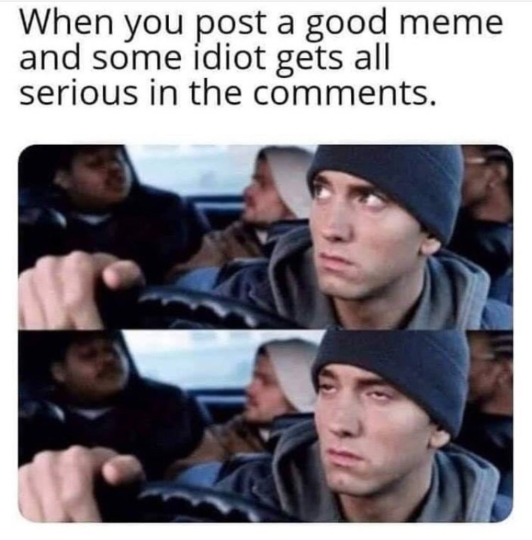 """Funny meme that reads, """"When you post a good meme and some idiot gets all serious in the comments"""" above pics of Eminem rolling his eyes while driving a car"""