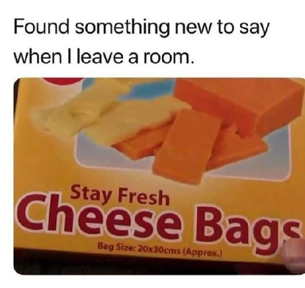 Text - Found something new to say when I leave a room. Stay Fresh Cheese Bags Bag Size: 20x30cms (Approx.)