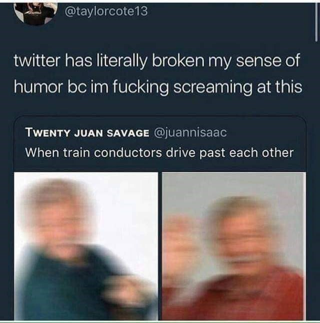 Text - @taylorcote13 twitter has literally broken my sense of humor bc im fucking screaming at this TWENTY JUAN SAVAGE @juannisaac When train conductors drive past each other