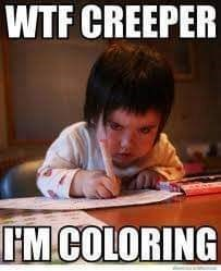 Photo caption - WTF CREEPER HM COLORING