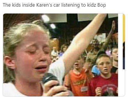 People - The kids inside Karen's car listening to kidz Bop