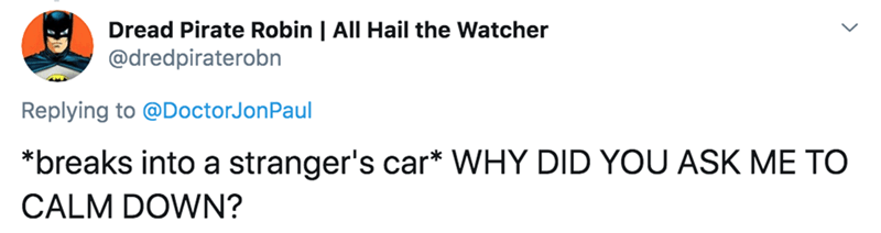 Text - Dread Pirate Robin | All Hail the Watcher @dredpiraterobn Replying to @DoctorJonPaul *breaks into a stranger's car* WHY DID YOU ASK ME TO CALM DOWN?
