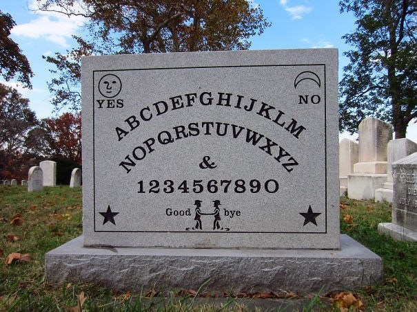 Headstone - 2 YES NO ABCDEFGHIJKLM NOP WY & 1234567890 Good bye