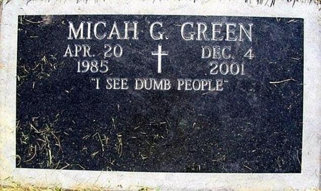 Headstone - MICAH G. GREEN APR. 20 1985 I SEE DUMB PEOPLE t DEC. 4 2001