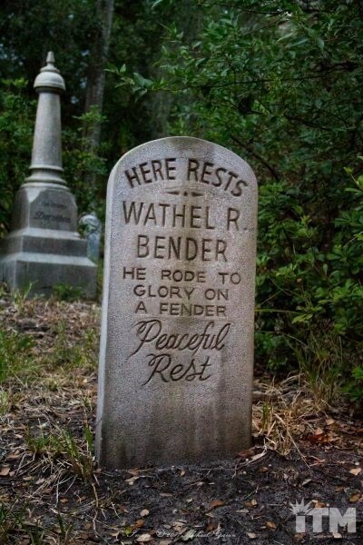 Headstone - HERE RESTS WATHEL R BENDER HE RODE TO GLORY ON A FENDER Peacefl Rest