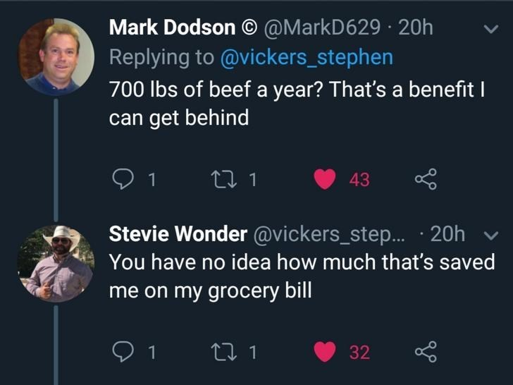Text - Mark Dodson @MarkD629 20h Replying to @vickers_stephen 700 lbs of beefa year? That's a benefit I can get behind t 1 43 Stevie Wonder @vickers_step.... 20h You have no idea how much that's saved me on my grocery bill 1 t 1 32