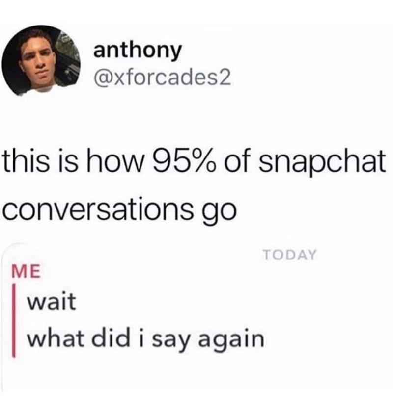 Text - anthony @xforcades2 this is how 95% of snapchat conversations go TODAY ME wait what did i say again