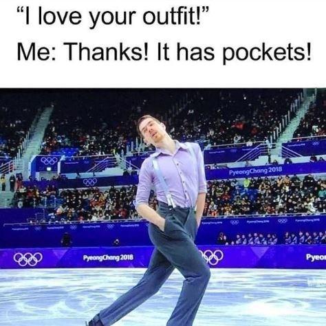 "Ice skating - ""I love your outfit! Me: Thanks! It has pockets! ఆం PyeongChang 2018 Pyeo PyeongChang 2018"