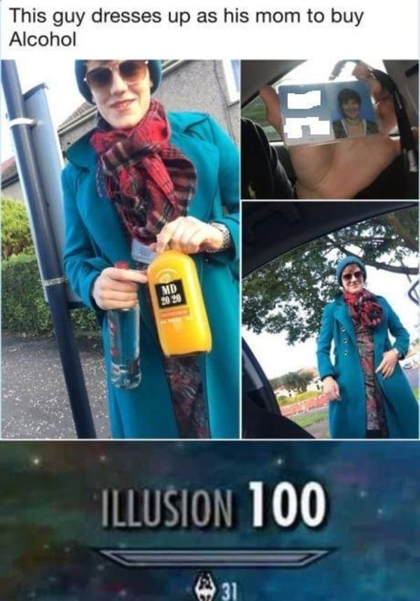 Selfie - This guy dresses up as his mom to buy Alcohol MD 20 20 ILLUSION 100 31