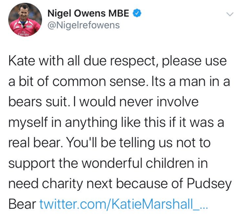 Text - Nigel Owens MBE @Nigelrefowens Fmirates Kate with all due respect, please use a bit of common sense. Its a man in a bears suit. I would never involve myself in anything like this if it was a real bear. You'll be telling us not to support the wonderful children in need charity next because of Pudsey Bear twitter.com/Katie Marshall..