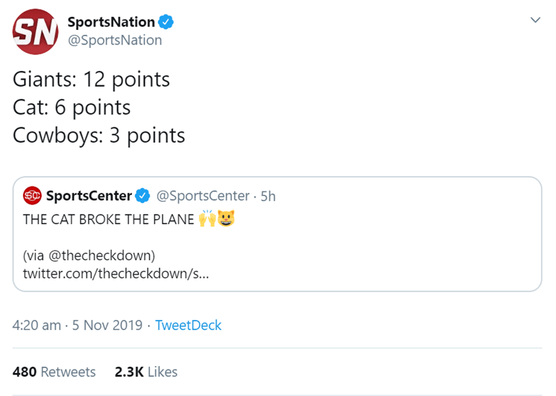 Text - SportsNation @SportsNation Giants: 12 points Cat: 6 points Cowboys: 3 points @SportsCenter .5h SSportsCenter THE CAT BROKE THE PLANE (via @thecheckdown) twitter.com/thecheckdown/s... 4:20 am 5 Nov 2019 TweetDeck 2.3K Likes 480 Retweets