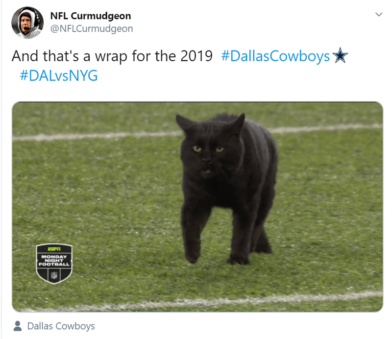 Mammal - NFL Curmudgeon @NFLCurmudgeon And that's a wrap for the 2019 #DallasCowboys #DALVSNYG MONDAY NIGHT FOOTBALL Dallas Cowboys