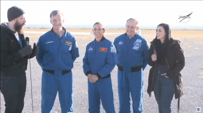 picture three astronauts two reporters going on crew flight next year starliner