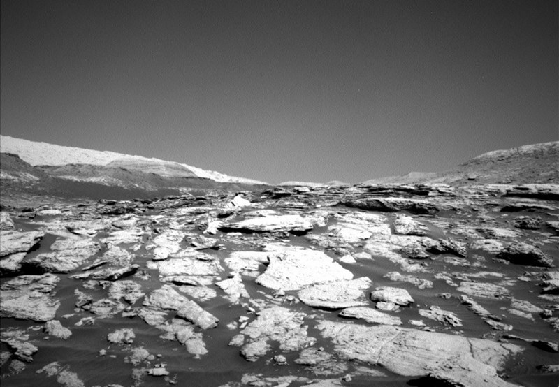 black and white photo from mars curiosity rover