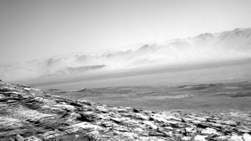 picture rocky landscape inside crater mars curiosity rover