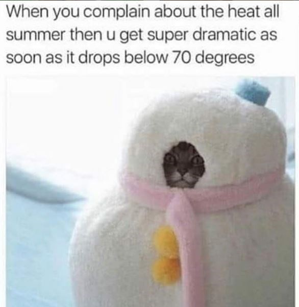 Textile - When you complain about the heat all summer thenu get super dramatic as soon as it drops below 70 degrees