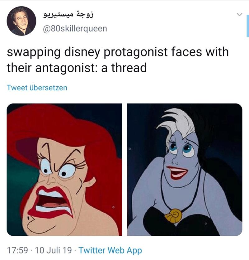 Face - زوجة ميستيريو @80skillerqueen Swapping disney protagonist faces with their antagonist: a thread Tweet übersetzen 17:59 10 Juli 19 Twitter Web App