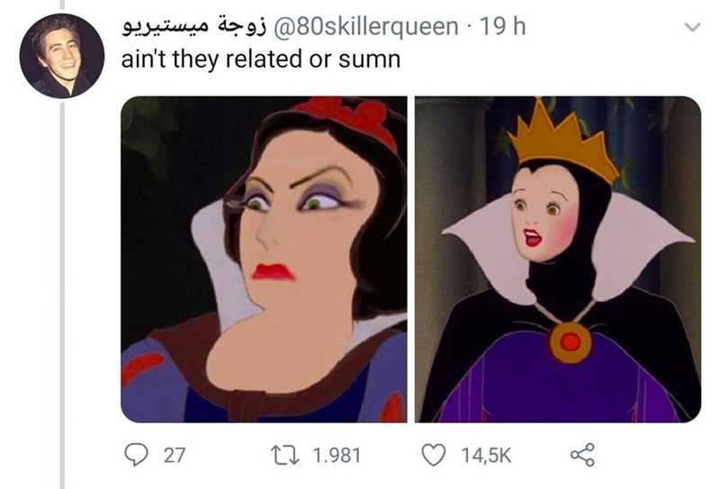 Face - زوجة ميستيريو80@skillerqueen ۰ 19 h ain't they related or sumn ه 27 L1.981 14,5K