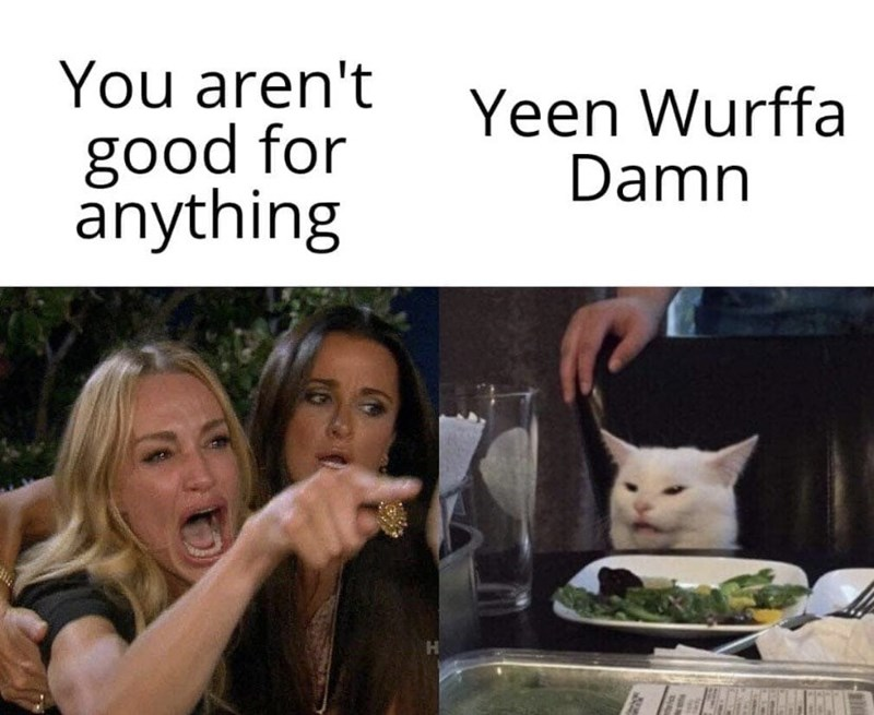 Facial expression - You aren't Yeen Wurffa Damn good for anything
