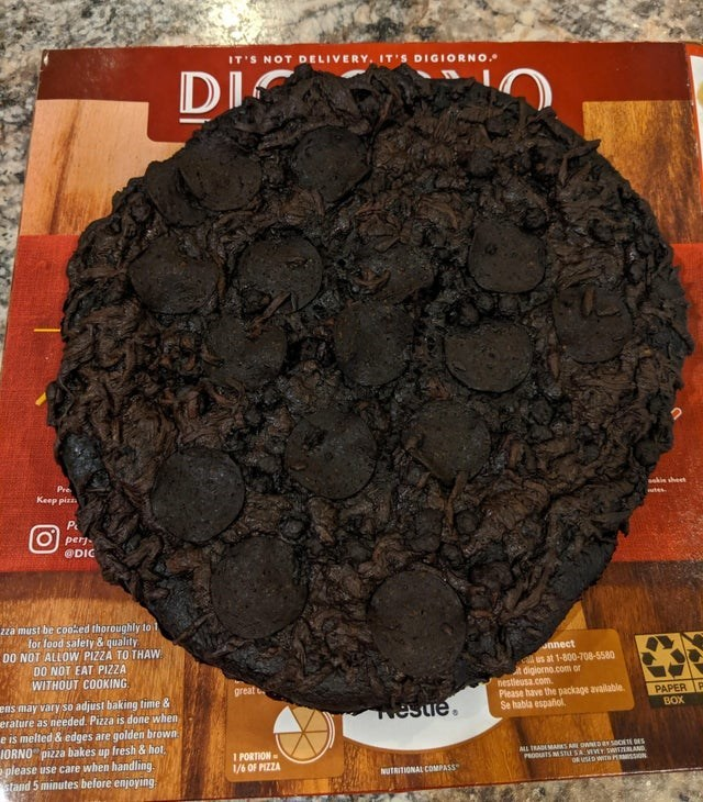 Soil - Di O IT'S NOT DELIVERY. IT'S DIGIORNO. DIC Pre Keep pizz sakie sheet tes P рern @DIC 2za must be cooked thoroughly to 1 for food salety & quality DO NOT ALLOW PIZZA TO THAW DO NOT EAT PIZZA WITHOUT COOKING annect us at 1-800-708-5580 digiorno.com or nestieusa.comh. Please have the package available. Se habla español. great just baking time & ens may vary so erature as needed. Pizza is done when e is melted & edges are golden brown IORNO pizza bakes up fresh &hot please use care when handl