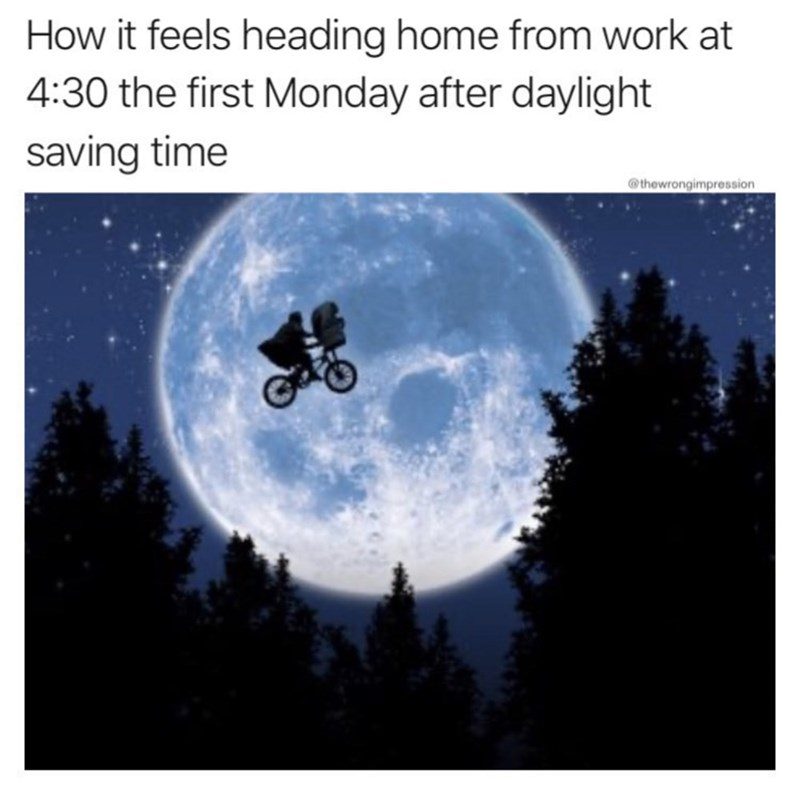 Sky - How it feels heading home from work at 4:30 the first Monday after daylight saving time @thewrongimpression