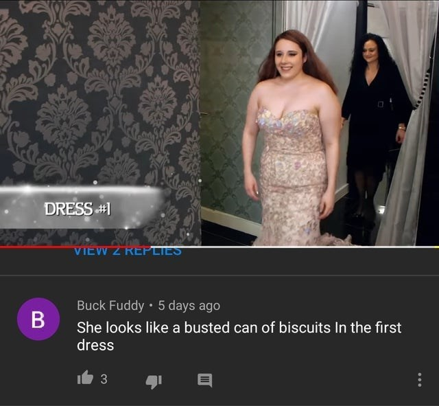 Dress - DRESS VIEW Z REPLIES Buck Fuddy 5 days ago В She looks like a busted can of biscuits In the first dress