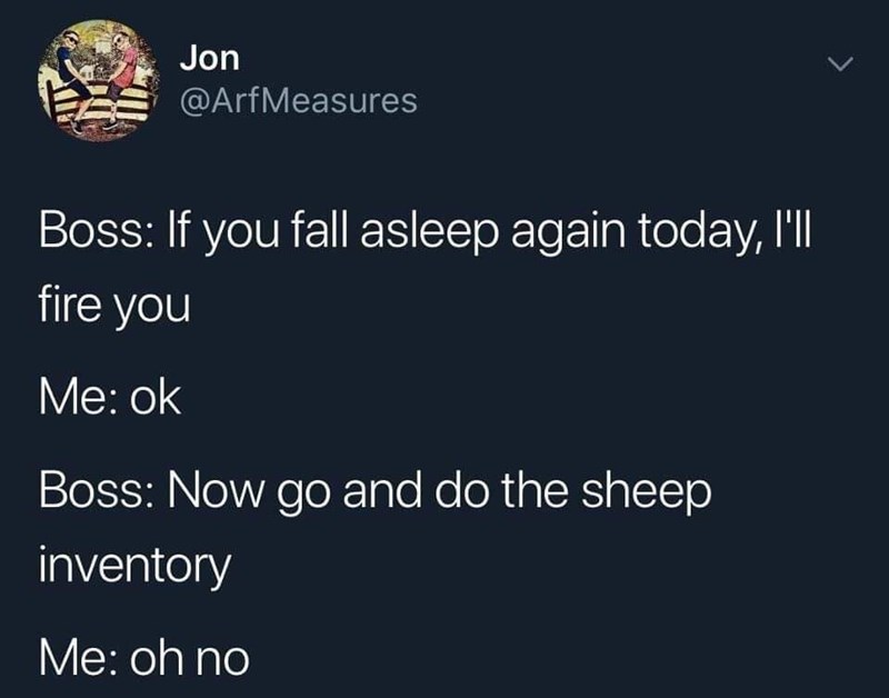 Text - Jon @ArfMeasures Boss: If you fall asleep again today, I'l fire you Мe: ok Boss: Now go and do the sheep inventory Мe: oh no