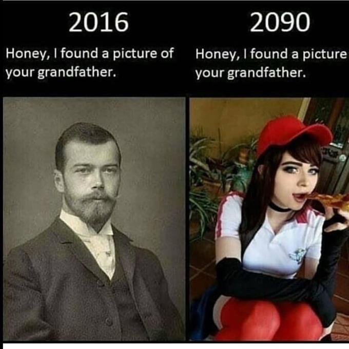 Photo caption - 2016 2090 Honey, I found a picture of Honey, I found a picture your grandfather. your grandfather.