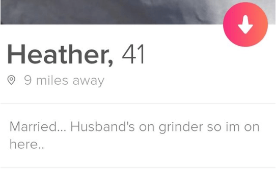 Text - Heather, 41 9 miles away Married... Husband's on grinder so im on here..
