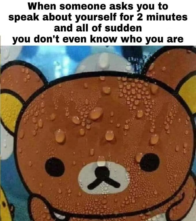 Cartoon - When someone asks you to speak about yourself for 2 minutes and all of sudden you don't even know who you are