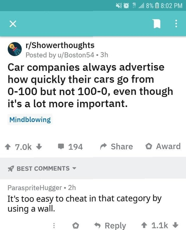 Text - 8% 8:02 PM r/Showerthoughts Posted by u/Boston54 3h Car companies always advertise how quickly their cars go from 0-100 but not 100-0, even though it's a lot more important. Mindblowing Award Share 7.0k 194 BEST COMMENTS ParaspriteHugger 2h It's too easy to cheat in that category by using a wall. Reply 1.1k