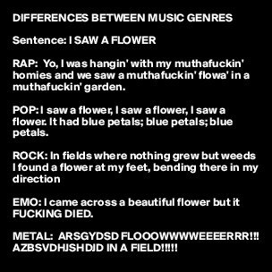 Text - DIFFERENCES BETWEEN MUSIC GENRES Sentence: I SAW A FLOWER RAP: Yo, I was hangin' with my muthafuckin homies and we saw a muthafuckin' flowa' in a muthafuckin' garden. POP:I saw a flower, I saw aflower, I saw a flower. It had blue petals; blue petals; blue petals. ROCK: In fields where nothing grew but weeds I found a flower at my feet, bending there in my direction EMO: I came across a beautiful flower but it FUCKING DIED. METAL: ARSGYDSD FLOOOWWWWEEEERRR!! AZBSVDHISHDID IN A FIELD!!!!