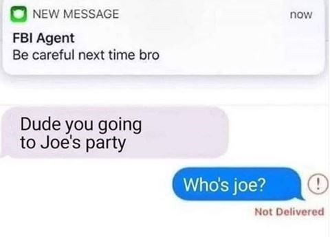 Text - NEW MESSAGE now FBI Agent Be careful next time bro Dude you going to Joe's party Who's joe? Not Delivered