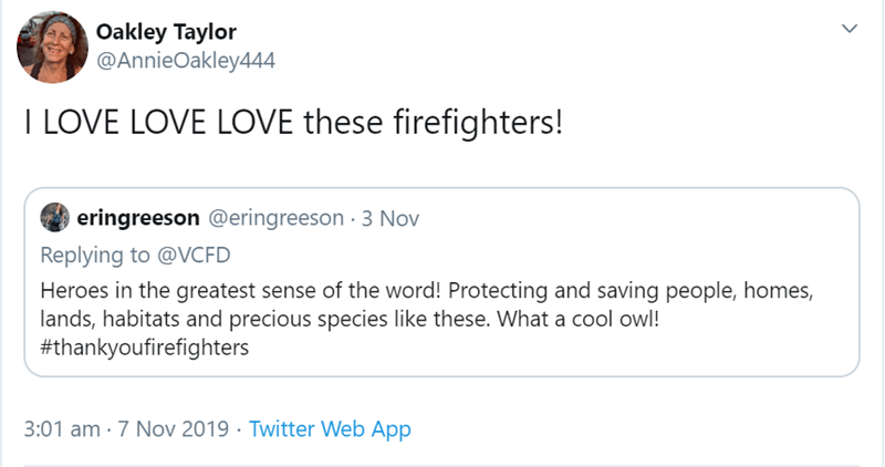 Text - Oakley Taylor @AnnieOakley444 I LOVE LOVE LOVE these firefighters! eringreeson @eringreeson 3 Nov Replying to @VCFD Heroes in the greatest sense of the word! Protecting and saving people, homes, lands, habitats and precious species like these. What a cool owl! #thankyoufirefighters 3:01 am 7 Nov 2019 Twitter Web App