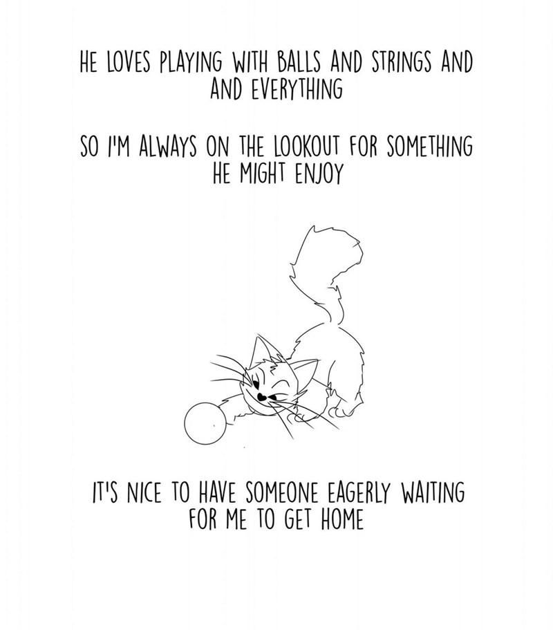 Text - HE LOVES PLAYING WITH BALLS AND STRINGS AND AND EVERYTHING SO I'M ALWAYS ON THE LOOKOUT FOR SOMETHING HE MIGHT ENJOY IT'S NICE TO HAVE SOMEONE EAGERLY WAITING FOR ME TO GET HOME
