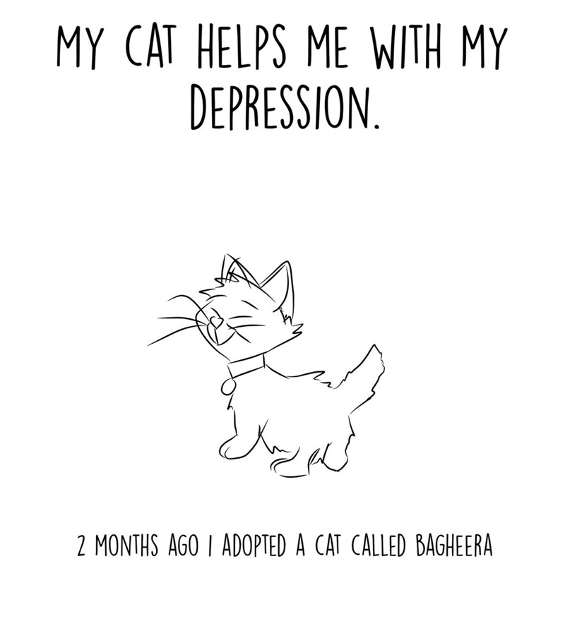 Text - MY CAT HELPS ME WITH MY DEPRESSION 2 MONTHS AGO I ADOPTED A CAT CALLED BAGHEERA