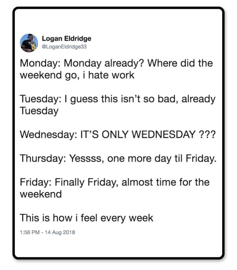 Text - Logan Eldridge @LoganEldridge33 Monday: Monday already? Where did the weekend go, i hate work Tuesday: I guess this isn't so bad, already Tuesday Wednesday: IT'S ONLY WEDNESDAY ??? Thursday: Yessss, one more day til Friday. Friday: Finally Friday, almost time for the weekend This is how i feel every week 1:56 PM-14 Aug 2018