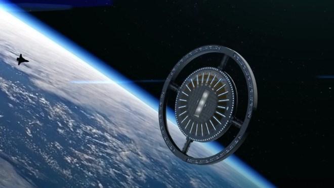 photo round wheel von braun space port above earth