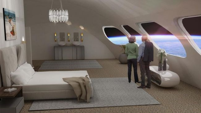 photo inside of von braun space station bedroom two people looking outside at earth