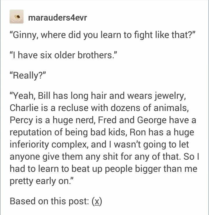 """Text - marauders4evr """"Ginny, where did you learn to fight like that?"""" """"I have six older brothers."""" """"Really?"""" """"Yeah, Bill has long hair and wears jewelry, Charlie is a recluse with dozens of animals, Percy is a huge nerd, Fred and George have reputation of being bad kids, Ron has a huge inferiority complex, and I wasn't going to let anyone give them any shit for any of that. So I had to learn to beat up people bigger than me pretty early on."""" Based on this post: (x)"""