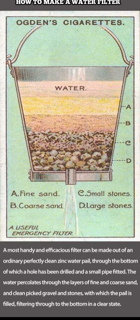 Text - HOW TO MAKE AWATER FILTER OGDEN'S CIGARETTES WATER A C.Small stones. A.Fine sand. DLarge stones. B.Coarse sand. A USEFUL EMERGENCY FILTER A most handy and efficacious filter can be made out of an ordinary perfectly clean zinc water pail, through the bottom of which a hole has been drilled and a small pipe fitted. The water percolates through the layers of fine and coarse sand, and clean picked gravel and stones, with which the pail is filled,filtering through to the bottom in a clear stat